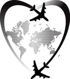 Heart travel world Stock Images