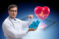 The heart treatment in telemedicine concept. Heart treatment in telemedicine concept stock photo