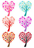 Heart tree with birds, vector. Heart tree with cute bird for wedding invitation, vector set Stock Image