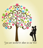 Heart Tree with couple  Stock Image