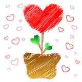 Heart tree in doodle style Stock Photo