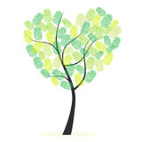Heart tree with green finger prints. Background Royalty Free Stock Photos