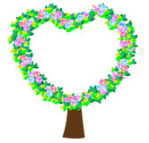 Heart tree. Illustration of tree of hearts, love and wedding icons vector illustration