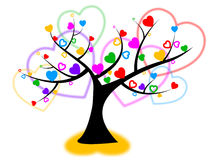 Heart Tree Indicates Valentines Day And Forest Royalty Free Stock Photos