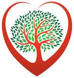 Heart tree logo. A heart tree with a loving love heart surrounding a tree logo icon Stock Photo