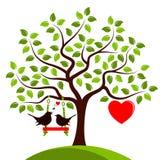Heart tree and love birds Stock Photo