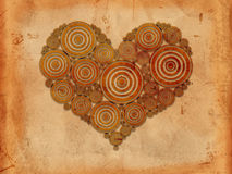 Heart of tree rings old paper background Royalty Free Stock Photos