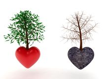Heart tree stone and love Stock Image