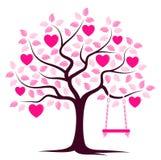 Heart tree with swing Stock Photo