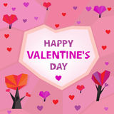 06 heart trees. The illustration of polygonal graphic love postcard. Vector image Stock Image