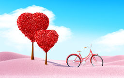 Heart trees landscape with bicycle Royalty Free Stock Photo