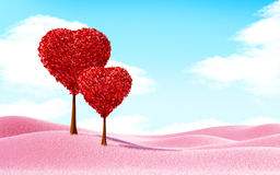 Heart trees landscape Royalty Free Stock Photo