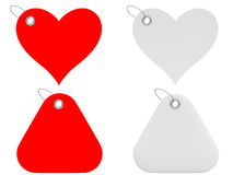 Heart and triangle tags. In white and red; 3d render Royalty Free Stock Photo
