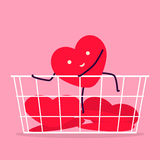 Heart try to climb on basket Stock Photo