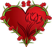 Heart with a tulip,  Stock Image