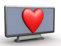 Heart on TV Royalty Free Stock Image