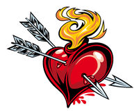 Heart with two arrows Royalty Free Stock Photo