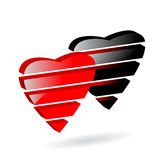 Heart. Two heart black and red color Royalty Free Stock Image