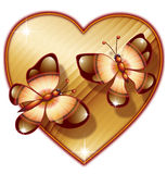 Heart with two butterfly Royalty Free Stock Photography