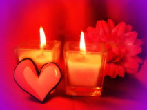 Heart and two candles Royalty Free Stock Images