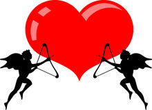 Heart and two cupid angel Stock Photography