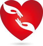 Heart and two hands, helper and love logo Royalty Free Stock Photography