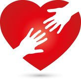 Heart and two hands, heart and helper logo. People logo, care and helper logo Stock Images
