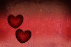 Heart two red grunge textured for Valentine Royalty Free Stock Photography