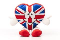 Heart UK. British Flag on Soft toy heart, UK Royalty Free Stock Images