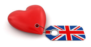 Heart with UK flag (clipping path included) Stock Photography