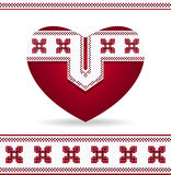 Heart with  Ukrainian ornament Stock Images