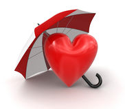 Heart with Umbrella (clipping path included) Stock Photo
