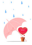 Heart and umbrella vector background Royalty Free Stock Photo