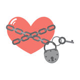 Heart under lock and key Stock Photos