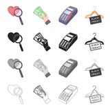 E-commerce related icon set. Heart under the magnifier, cash in hand, Friday sale, e-commerce purchase through the POS terminal. Purchase and sale, e-commerce Royalty Free Stock Images