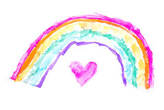 Heart under rainbow. Colorful hand painted watercolor child drawing of a heart under a rainbow on white background royalty free illustration