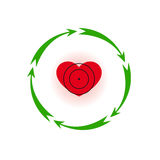 Heart under a sight. Vector illustration. Heart under a sight Different colors. Five in a circle of arrows Stock Images