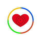 Heart under a sight. Vector illustration. The emblem, logo. Heart under a sight. Four arrows on the contour. Different colors Stock Image