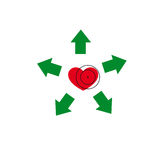 Heart under a sight. Vector illustration. The emblem, logo. Heart under a sight. Healthy lifestyle. Five arrows diverge from the heart Royalty Free Stock Photos