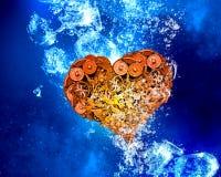Heart under water. Gear heart sink in clear blue water stock illustration