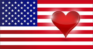 The heart of the US. usa flag and heart. Illustration design Royalty Free Stock Image