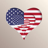 Heart with USA flag on background. Multilayer 3D like picture of heart with USA flag on background royalty free illustration