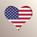 Heart with USA flag on background. Multilayer 3D like picture of heart with USA flag on background stock illustration