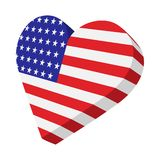 Heart in the USA flag colors cartoon icon. On white background Vector Illustration