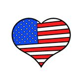 Heart in the USA flag colors icon cartoon Stock Photo