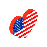 Heart in the USA flag colors isometric 3d icon. On white background Royalty Free Stock Photo