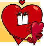 Heart with valentine card cartoon Stock Photo