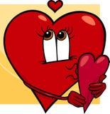 Heart with valentine card cartoon Stock Photo