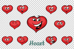 Heart Valentine emotions characters collection set Royalty Free Stock Photography