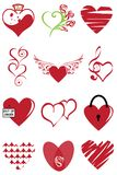 Heart valentine icon set vector illustration. Graphic, curlicues. royalty free stock photography